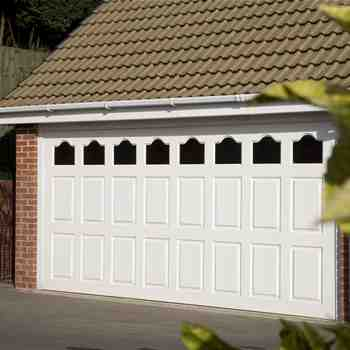 white window section remote control garage door